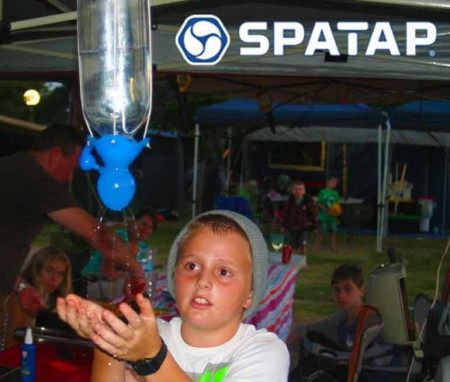 SpaTap-camping-shower-family-camp eco feindly child friendly camp shower bottle tap