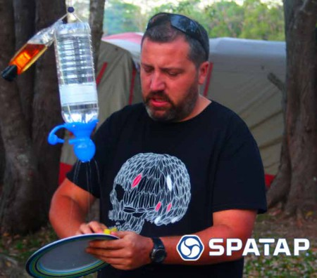 SpaTap-camping-shower-family-camp eco feindly child friendly camp shower bottle tap toothbrush outdoor tap dog wash watering doin the dishes