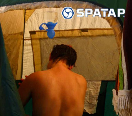 SpaTap-camping-shower-family-camp eco feindly child friendly camp shower bottle tap toothbrush outdoor tap dog wash watering doin the dishes beach shower extreme spatapping go green 2girls 1 spatap meta bottle plastic pollution 10 litre bottle 1 hour shower 4wd soap caddy shower cubicle