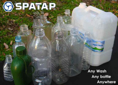 SpaTap-camping-shower-family-camp eco feindly child friendly camp shower bottle tap toothbrush outdoor tap dog wash watering doin the dishes beach shower extreme spatapping go green 2girls 1 spatap meta bottle plastic pollution