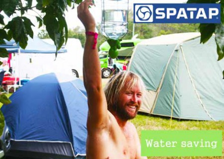 SpaTap Festival Tap and camp shower system attaches to any bottle to dispense a water savving shower at music festival great for handwashing and personal hygiene